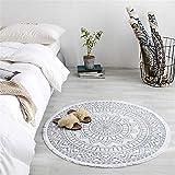 Zcm Teppich Marokko Runde Teppichboden Schlafzimmer Boho Art-Troddel-Baumwolle Teppich Hand...