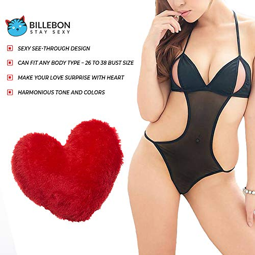 Billebon Combo Heart Pillow Red with Women Baby Doll Nightwear Lingerie with G-String Panty (Free Size) (Black)
