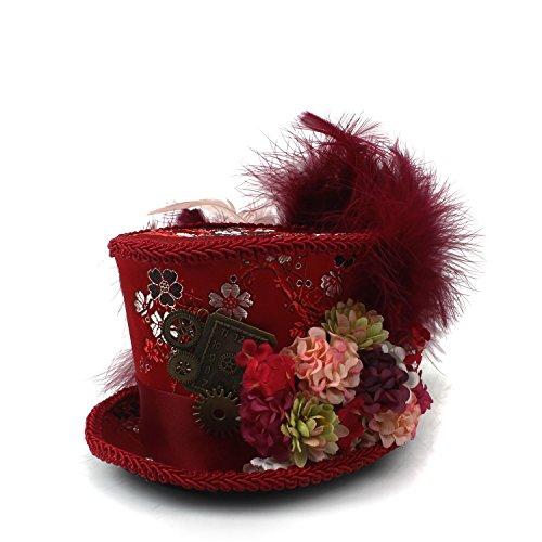 WANGXINQUAN Mini Cappello a Cilindro, Cappello Rosso Antico e Avorio Tazza da tè Cappello Cappellaio Matto, Cappello da tè, Cappellaio Matto (Colore : Rosso, Dimensione : 25-30cm)