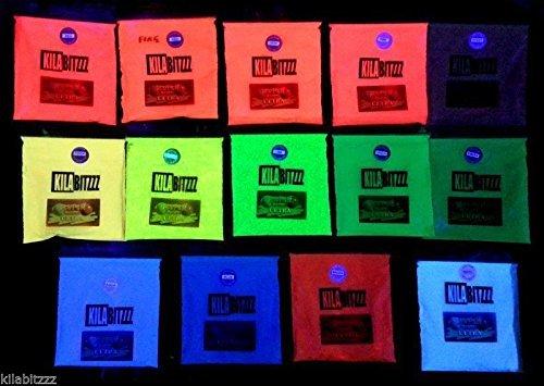Polvere con pigmenti ultra fluorescenti che reagiscono alla luce nera degli UV Vari colori disponibili. 20 g MAGENTA