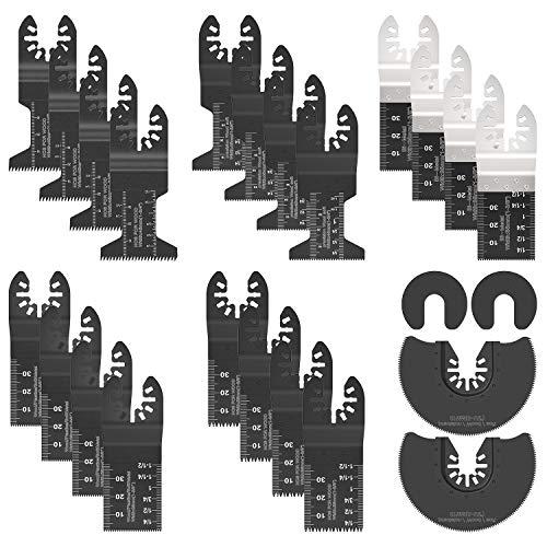 24PCS Cuchillas Oscilantes Hojas de Sierra Oscilantes Herramienta Múltiple Accesorios para Herramientas Oscilantes Multifunción para Dremel, Fein Multimaster, Bosch, Makita, Dewalt