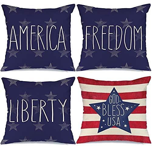 JOOCAR Örngott set med 4 40 x 40 cm 4 juli minnesdag amerikansk flagga stjärnor och ränder patriotisk prydnadskudde överdrag frihet Gud välsigne kuddar självständighet dag dekor