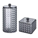 TSLBW Lot de 2 supports en coton pour tampons de maquillage en acrylique, pour boules de coton, coton-tige et tampons de salle de bain, boîte de rangement avec couvercle pour boules de coton, Q-Tips