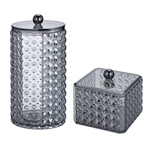 TSLBW - Juego de 2 almohadillas de algodón para maquillaje de acrílico, organizador de contenedores, bola de algodón de plástico y soporte para hisopos, tarro de baño