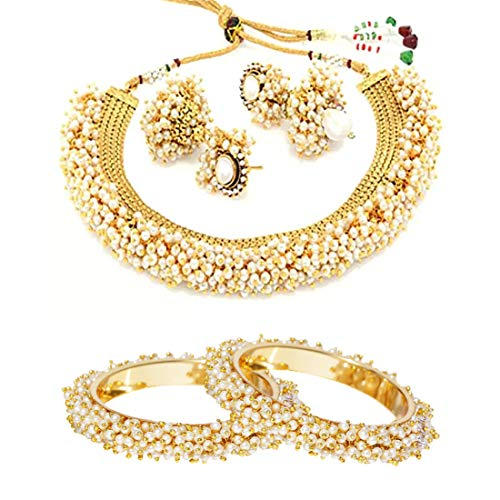 YouBella Jewelry Bollywood Ethnic Gold Plated Traditional Pearl Indian Necklace Set with Earrings and Bangles Combo for Women (Black) (6)