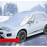 Coprire la metà Auto, Oversize Impermeabile Neve Copertura Esterna parcheggio Copertura di Ghiaccio, Montare Proteggere Il Parabrezza e del Tetto dell'automobile (Color : Silver, Size : B)