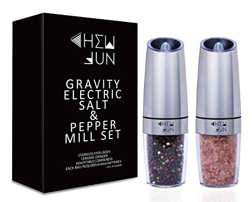 Gravity Electric Salt and Pepper Grinder Set with Adjustable Coarseness Automatic Pepper and Salt Mill Battery Powered with Blue LED Light,One Hand Operated,Brushed Stainless Steel by CHEW FUN