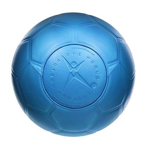 One World Play Project - Palla Futbol da Calcio indistruttibile - Non Si buca, sgonfia - No tossica - Blu - Misura 5