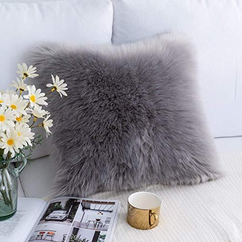 QUANHAO Soft Künstlich Pelz Throw Kissenbezüge Set Dekorative Dekokissen Kissen Fall für Sofa Schlafzimmer Kissenbezug gegen Wolle(45x45cm grau 1pcak)