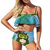 Bikini Green-Owl traje de baño para mujer traje de baño de dos piezas natación cintura alta con volantes traje de baño Bikini Set