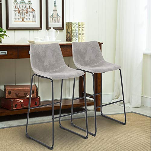 PHI VILLA Bar Stools Set of 2,30 Inches Faux Suede Counter Height Bar Stools with Back for Kitchen,Dining Room and Living Room,Modern Designed Bar Chair Furniture Decorate Every Room,Light Grey