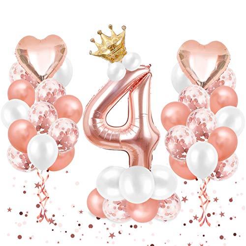 O-Kinee Luftballon 4. Geburtstag Roségold, Geburtstagsdeko 4 Jahr, Ballon 4. Geburtstag, Riesen Folienballon Zahl 4, Happy Birthday Folienballon 4, Ballon 4 Deko zum Geburtstag Mädchen
