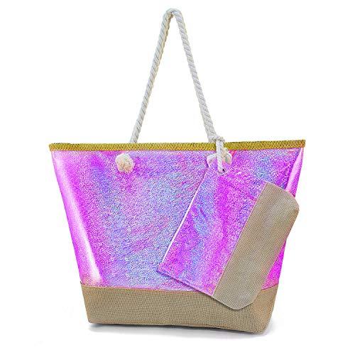 Diealles Bolsa Playa Grande Mujer Brillante, Bolsa Playa Grande con Cremallera XXL, (Tamaño Perfecto 55 x 39 x 16.5 cm), Ideal para la Playa o Piscina (Rosa)