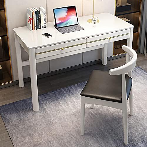 Escritorio de Computadora Mesa de Juegos Cajón de Madera Marco Estable Robusto Fácil de Montar Estilo Moderno y Simple Oficina en casa Blanco Gris Negro