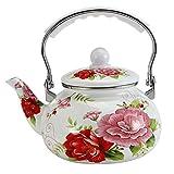 WZMPH Esmalte en la Tetera de Acero Floral, Tetera esmaltada de Porcelana Grande, Tetera de té de Agua Caliente Colorida para Estufa