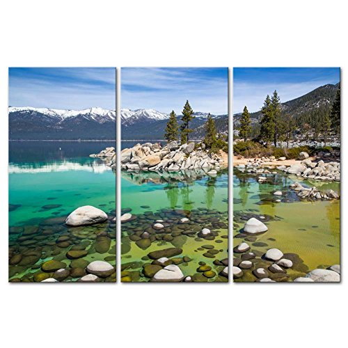So Crazy Art- Lake Tahoe Wall Art Decor Clear Turquoise Water and Green Mountain Trees Forest in the California Canvas Pictures Artwork 3 Panel Landscape Painting Prints for Home Living Dining Room