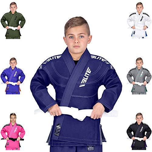 Elite Sports IBJJF Ultra Light BJJ Brazilian Jiu Jitsu Gi for Kids with Preshrunk Fabric and Free Belt, C3