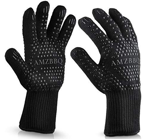 AMZBBQ Premium Grillhandschuhe, Hitzebeständige Backhandschuhe bis 500 Grad, Extra Lange Ofenhandschuhe, Topfhandschuhe für Küche & Grill, Feuerfeste Kochhandschuhe in Größe S