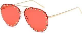 Women Rimless Oversized Sunglasses Colorful Lens Rivet Fashion WS027