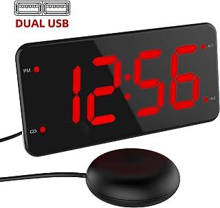 ساعت زنگ دار فوق العاده با صدای بلند با شاکر تختخواب ، ساعت زنگ دار لرزشی برای خواب آوران سنگین ، ناشنوا و سخت شنوایی ، ساعت زنگ دار دوتایی با شارژر USB ، نمایشگر 7 اینچی ، تمام دامنه دزدگیر ، پشتیبان گیری از باتری - قرمز