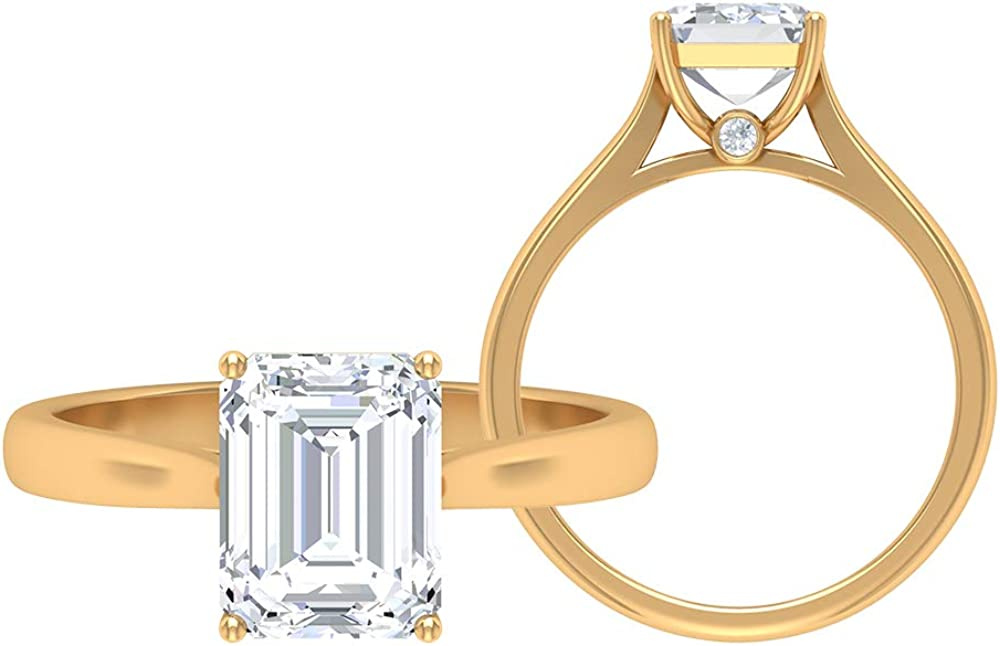Solitaire Engagement Ring, 7X9 MM Octagon Shape Moissanite Ring, D-VSSI 2.4 CT Moissanite Wedding Ring, Unique Anniversary Ring, Promise Ring for Her, 14K Gold