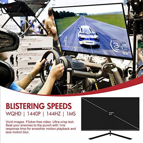VIOTEK GFT27DB 27-Inch WQHD Gaming Monitor with Speakers, 1440p 144Hz 1ms, FreeSync & Works w/G-SYNC, TN Panel 115% sRGB, DP HDMIx3 VESA