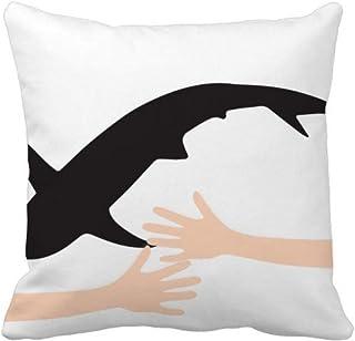 Blue Ocean Shark Fierce Animal Hug - Funda de almohada cuadrada