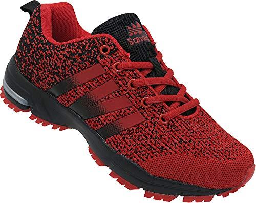 Damen Schuhe Laufschuhe Sportschuhe Turnschuhe Sneaker Art.Nr. 369-1 rot-schwarz (40 EU)