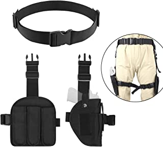 AIRSSON 3-in-1 Airsoft Leg Holster Combination,One Adjustable Tactical Waist Belt,One Left Magazine Pouches which Put Three Bullets and One Right Leg Thigh Holster for Most of Pistols