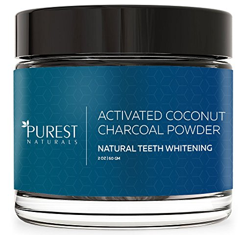 Purest Naturals Teeth Whitening Charcoal Powder Natural - Made In USA With Coconut Activated Charcoal - Safe Effective Tooth Whitener Solution - Better Than Strips, Kit, Gel & Whitening Toothpaste