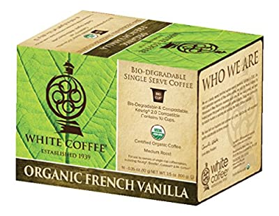 White Coffee Organic Single Serve Coffee, French Vanilla, 10 Count