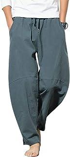 [ラクサス] サルエルパンツ ワイドパンツ 綿麻 リネン ゆったり 無地 イージーパンツ メンズ