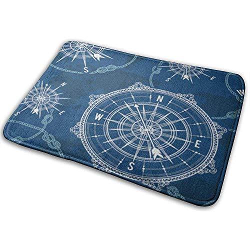 Liumt anti-slip vloermatten blauw patroon vintage kompas wereldkaart windrose touw knopen nautisch retro marine outdoor tapijten
