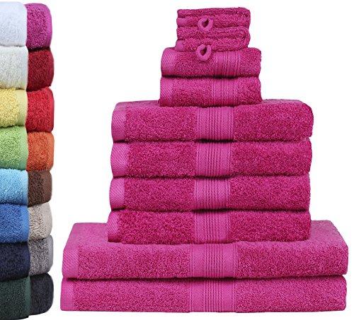 GREEN MARK Textilien 10 TLG. FROTTIER Handtuch-Set mit verschiedenen Größen 4X Handtücher, 2X Duschtücher, 2X Gästetücher, 2X Waschhandschuhe | Farbe: Pink | Premium Qualität
