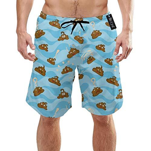 Caca Personajes de Patrones sin Fisuras en Azul Vector Image_3050 Ropa de Playa para Hombres Summer Holiday Swim Trunks Quick Dry L