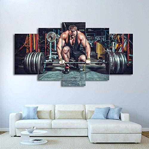 wodclockyui 5 Piezas Cuadro de Lienzo- Equipo de Levantamiento de Pesas Gym Decoración de Pared para el hogar Pinturas y Carteles de Arte HD 200cmx100cm sin Marco