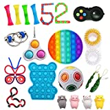 Fidget Toy Set 25 Pcs - Sensory Fdiget Toy Pack for Kids Adults - Anti-Anxiety Anti Stress ADHD Toys with Push Pop Bubble / Simple dimple / Squishy / Marble Mesh / Puzzle Ball / Peapod / Tangle Toy