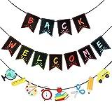3 Pack WelcomeBackBanner Classroom Banner Decorations Welcome Bulletin Board Banner Welcome Chalkboard Brights Pennants for BacktoSchool Seasons, School Supplies