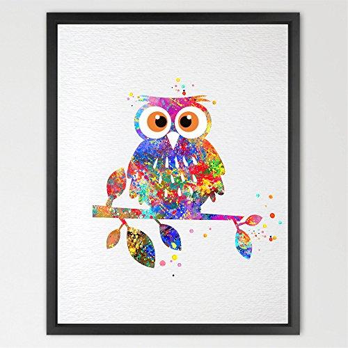 Dignovel Studios 8X10 Owl Watercolor illustrations Art Print Wedding Gift Wall Art Poster Giclee Wall Decor Art Home Decor Wall Hanging animal art print N105
