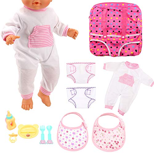 Miunana Accesorios: 1x Ropa +1x Mochila + 1x Vajilla + 2X Pañales + 2X Baberos para 14-18 Pulgadas Muñecas Baby Doll Baby Alive (Ropa + Accesorios + Mochila)