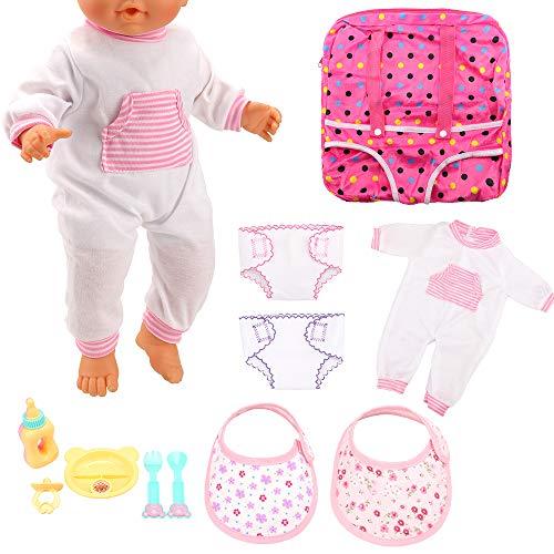 Miunana 10 Zubehörteile für 14 – 16 Zoll (36 – 42 cm) Puppen für Mädchen = 2 Windeln + 2 Taschentücher + Rucksack + 5 Zubehörteile (Fläschchen, Brustwarzen, Teller, Gabel, Löffel).