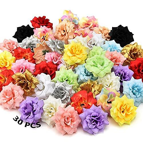 Kunstblumen Köpfe Farbe 30 Stück Künstliche Seidenblumen Köpfe Künstliche Blumen Deko Blüten Seidenblumen Blumen Köpfe Seidenrose Dekoration Farbmischung 4.5cm Für...