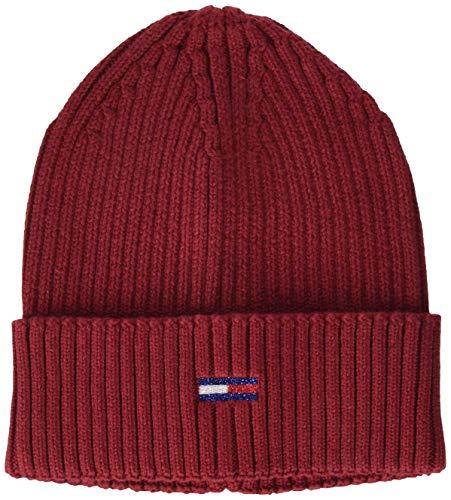 Tommy Jeans Damen Tjw Basic Flag Rib Beanie Hut, Wine Red, OS