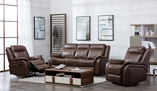 New Hartfordshire Leather Reclining Sofa Set Non Reclining 3 Seater & 2 Recliner Armchairs (Tan)