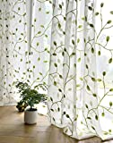 TIYANA Ivy Leaf Embroidered Sheer Panels Window Crushed Sheer Gauze Curtain Panels Room Curtain Voile Tulle Window Drapery Rod Pocket, 1 Panel, Green Leaf White Sheer, W75 x L96 inch