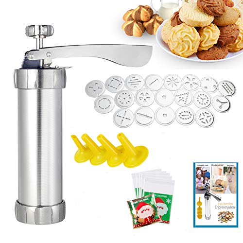 Classic Stainless Steel Cookie Press,Featuring 20 Decorative Stencil Discs and 4 Icing Tips,Deluxe Spritz Cookie Press Gun,Cookie Maker,Durable & Easy to Use,Best Tool for Kitchen