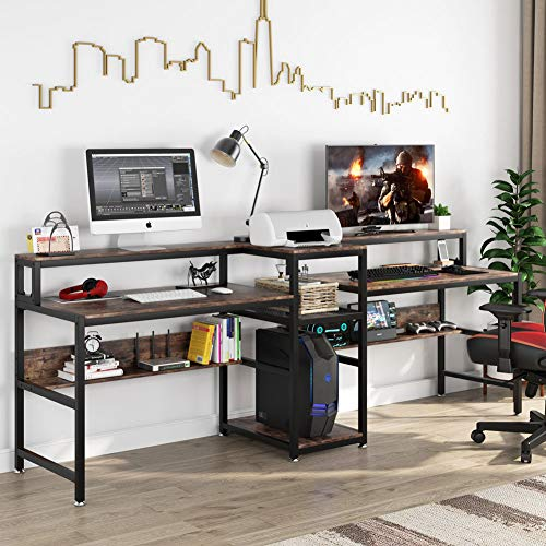 Tribesigns 94.5 inch Double Computer Desk with Storage Shelf, Extra Long Two Persons Desk with Printer Shelf, Large Office Desk Study Writing Table for Home Office (Rustic Brown)