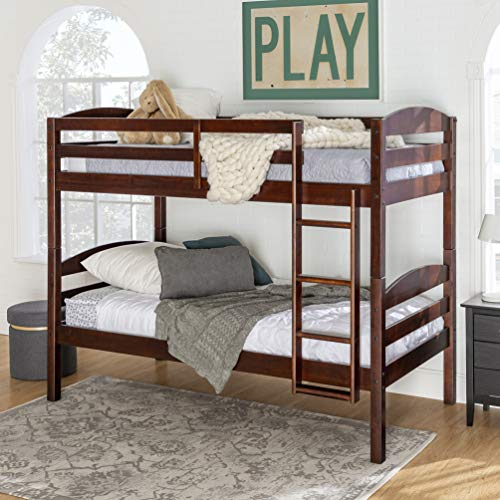 Walker Edison Wood Twin Bunk Kids Bed Bedroom with Guard Rail and Ladder Easy Assembly, Espresso