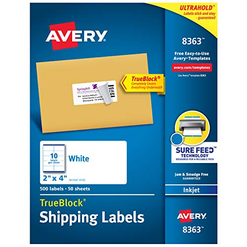 Avery Shipping Address Labels, Inkjet Printers, 500 Labels, 2x4 Labels, Permanent Adhesive, TrueBlock (8363)