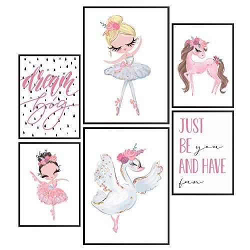 Pandawal Ballerina Poster Ballett Bilder Kinderzimmer Deko Mädchen 6er Set für Kinder Mädchenzimmer DIN A4 & A3 Wandbilder ohne Bilderrahmen